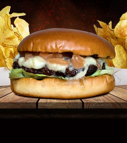 Burger cu brânză maturată și dulceață de gogonele